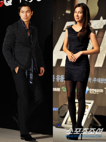 Jung Woo-sung (left) and Lee Ji-ah