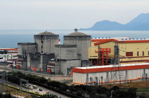 A view of the Daya Bay nuclear power plant near Shenzhen in south China on March 11, 2011. The plant, which accounts for 70 percent of operator CLPs electricity supply, was the first commercial nuclear power plant on the mainland. /AP