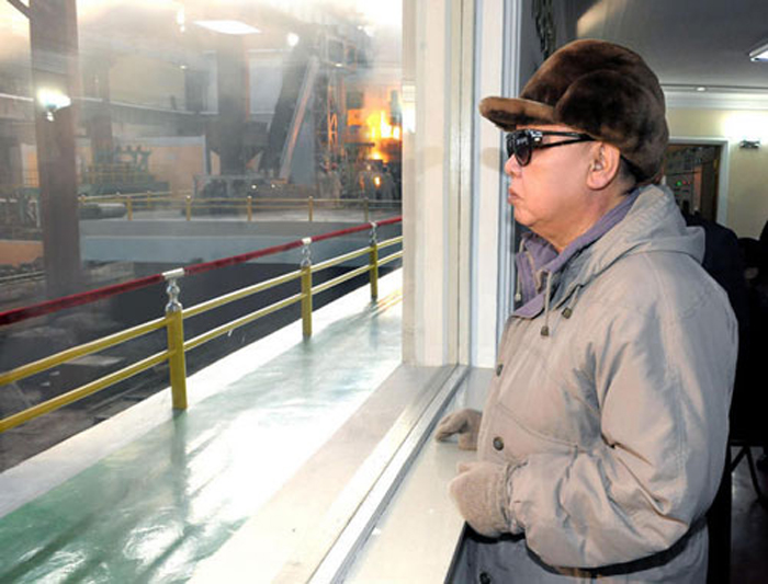 North Korean leader Kim Jong-il inspects a steel complex in Jagang Province in this undated photo released on April 10 by [North] Korean Central News Agency. /KCNA-Yonhap