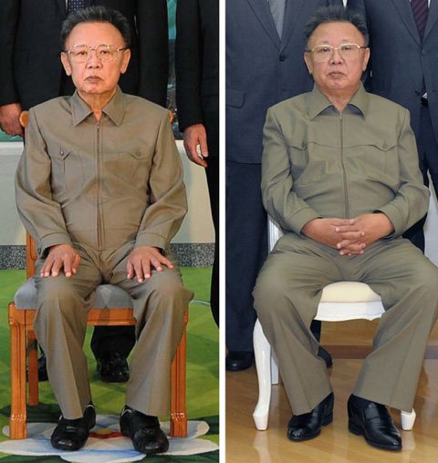 A combination photo shows North Koreas leader Kim Jong-il posing with former U.S. President Bill Clinton (not pictured) on Aug. 4, 2009 (left) and again with a Russian delegation on May 17, 2011 in these images released by the North Korean official news agency KCNA. /Reuters-Newsis