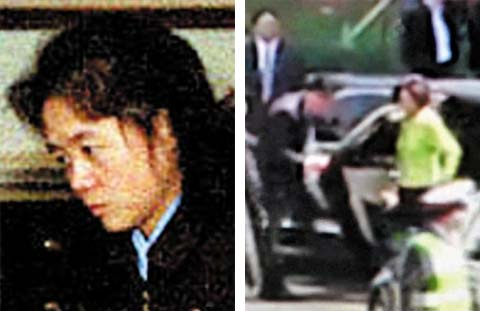Kim Ok in an undated file photo (left); Kim Ok gets out of a car in this video clip posted online by a Chinese netizen. /Youku.com