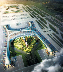 An artists impression of the second passenger terminal at Incheon International Airport
