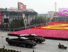 North Korean mid-range ballistic missiles are shown in a parade marking the 65th anniversary of the Workers Party on Oct. 10, 2010. /AP-Yonhap