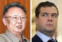 Kim Jong-il (left) and Dmitry Medvedev