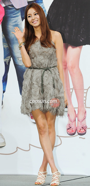 Actress and singer Uee poses at a press event for their new TV drama
