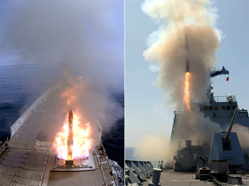 A Hongsangeo anti-submarine missile is test-launched from a destroyer (file photo). /Courtesy of the Agency for Defense Development