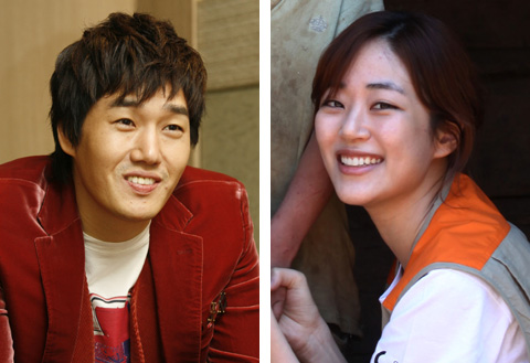 Yoo Ji-tae (left) and Kim Hyo-jin 