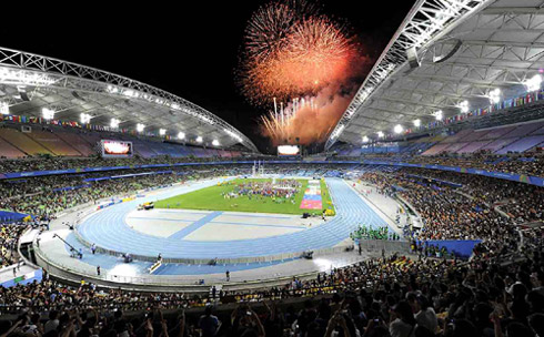 Fireworks light up the sky as part of the closing ceremony for the IAAF World Championships in Athletics in Daegu Stadium on Sunday.