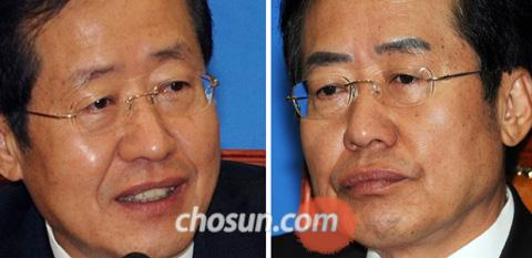 Grand National Party Chairman Hong Joon-pyo before (left) and after his eyebrow tattoo.