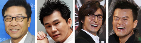 From left, Lee Soo-man, Yang Hyun-suk, Bae Yong-joon and Park Jin-young