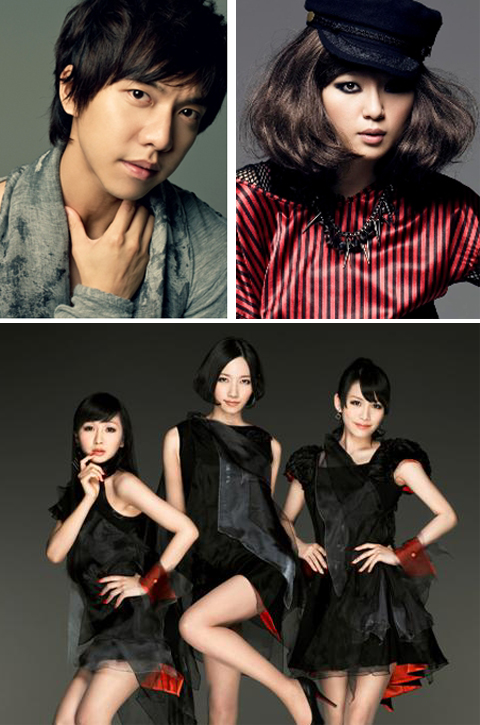 Clockwise from top left, Lee Seung-gi, Zhou Bichang and Perfume
