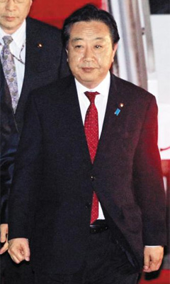 Japanese Prime Minister Yoshihiko Noda arrives in Seoul Airport on Tuesday.