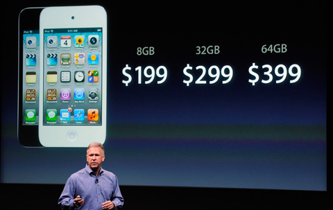 Apple marketing executive Philip Schiller at the release of the new iPhone 4S at company headquarters in Cupertino, California on Oct. 4 /AFP