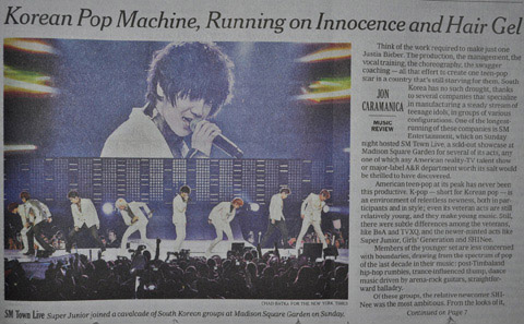 The New York Times on Tuesday carries a story about the SM Town Live concert held at Madison Square Garden in New York on Sunday. /Newsis
