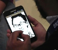 A user draws a portrait on the Galaxy Note during the IFA 2011 in Berlin in September.