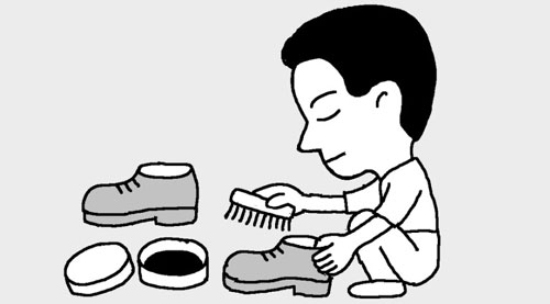To shine shoes, apply shoe polish in the evening and polish them the