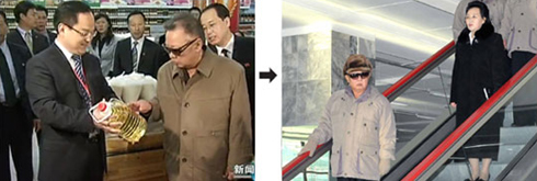 Left: North Korean leader Kim Jong-il visits a shopping center in Yangzhou, China on May 23. /CCTV; Right: Kim inspects the countrys first supermarket in Pyongyang last Thursday. /[North] Korean Central News Agency