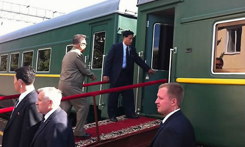 North Korean leader Kim Jong-il gets on his armored train in Amur Oblast, Russia in August (file photo).