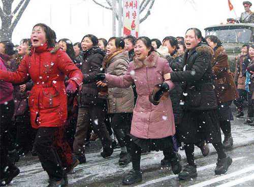 North Koreans react during late leader Kim Jong-ils funeral procession in Pyongyang on Wednesday. /AP-Newsis