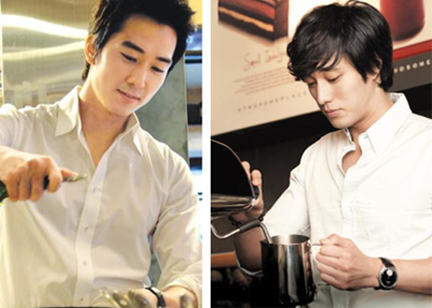Song Seung-hun (left) keeps busy at his Blacksmith restaurant, while So Ji-sub is pictured at a branch of the coffee chain A Twosome Place. So runs the branch.