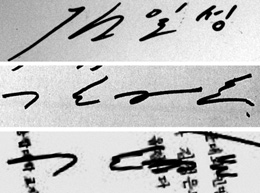 From top, the signatures of Kim Il-sung, Jong-il and Jong-un