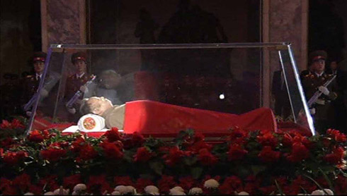 North Korean leader Kim Jong-il lies in state at the Kumsusan Memorial Palace in Pyongyang on Dec. 20, a day after the regime announced his death.