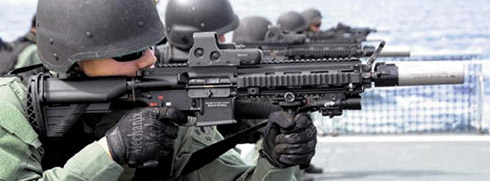 UDT/SEALs train with the German HK416 rifle. /Courtesy of Navy