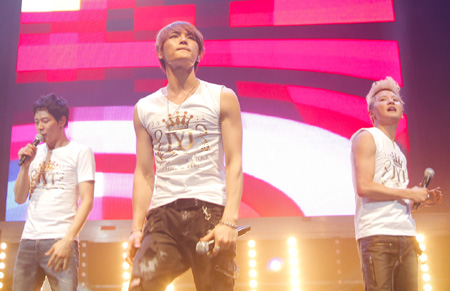 JYJ perform at the Teatro Caupolicán in San Diego, Chile, on Friday. /Courtesy of C-Jes Entertainment
