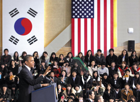 President Barack Obama speaks at Hankuk University of Foreign Studies in Seoul on Monday.