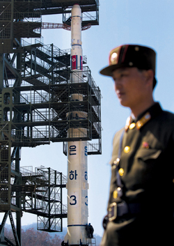 North Koreas rocket, slated for liftoff between April 12-16, stands in Tongchang-ri, North Korea on Sunday. /AP-Yonhap