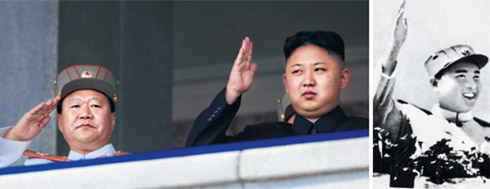 North Korean leader Kim Jong-un (right) salutes a mass military parade in Pyongyangs Kim Il-sung Square to the centenary of his grandfather and North Korean founder Kim Il-sung on Sunday. /AP-Newsis