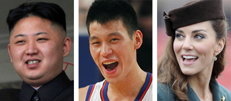 From left, Kim Jong-un, Jeremy Lin and Kate Middleton