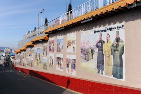 A mural depicts the 14th century Chinese historical novel