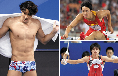 Clockwise from top left: Park Tae-hwan takes a break from training at the Oriental Sports Center in Shanghai last July. /Reuters; Liu Xiang jumps over the hurdle at the World Championship in Daegu in August 2011; Kohei Uchimura competes in the rings at the World Championship in Tokyo in October 2011. /AP-Yonhap