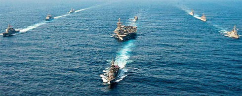 Warships from South Korea, the U.S., and Japan take part in trilateral military exercises in international waters south of Jeju Island on June 22. /Courtesy of the U.S. Navy