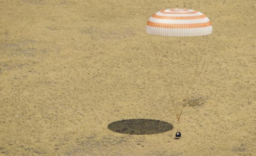 The Soyuz TMA-03M spacecraft lands with three members of Expedition 31 from the International Space Station in a remote area near the town of Zhezkazgan, Kazakhstan on July 1, 2012. /Courtesy of NASA