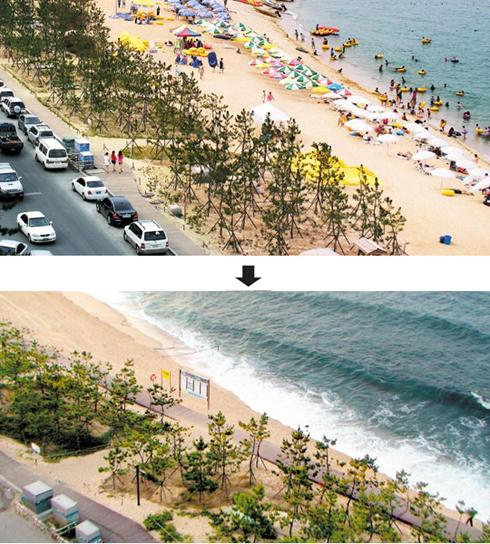 A view of the southern end of Gyeongpo Beach in 2009 (top) and as of Sunday (bottom)