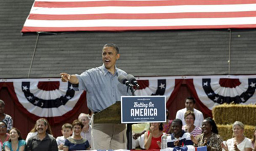 President Barack Obama speaks at the Wolcott House Museum in Maumee, Ohio on July 5, 2012. /AP