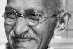 Indian leader Mohandas K. Gandhi, also known as Mahatma Gandhi, smiles in this 1947 file photo. /AP