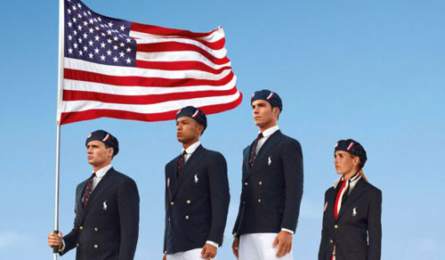 This product image released by designer Ralph Lauren shows U.S. athletes in their controversial 2012 London Olympics uniforms. /AP