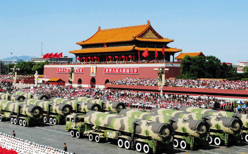 DF-15 short-range ballistic missiles with a 600 km range, are shown at a military parade marking the 60th anniversary of the Peoples Republic of China in the Tiananmen Square in October 2009.