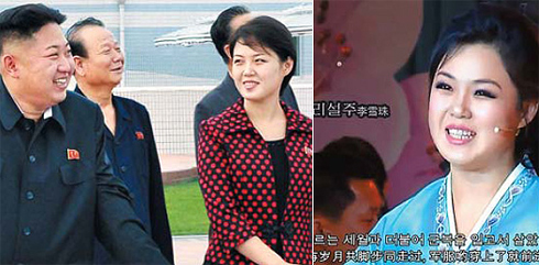 Left: North Korean leader Kim Jong-un (left) and his wife, who was named by the state broadcaster as Ri Sol-ju, visit an amusement park in Pyongyang in this undated picture released by the Norths KCNA. /Reuters-Yonhap; Right: A video clip on YouTube shows a singer believed to be North Korean leader's wife Ri Sol-ju performing with the Unhasu Orchestra at a concert aired on the state TV in January 2011.