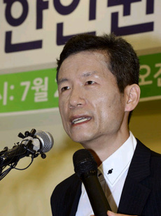 Kim Young-hwan speaks in a press conference in Seoul on Wednesday.