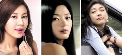 From left, Kim Ha-neul, Jeon Ji-hyun and Kim Yu-na