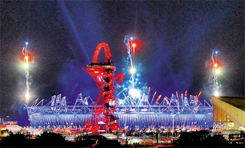 A light display at the Olympic Stadium after a full dress rehearsal for the opening ceremony in London on Thursday.
