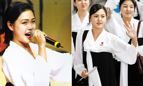 Left: Ri Sol-ju performs as a member of the North Korean cheering squad during an Asian athletics competition in Incheon in 2005.; Right: Ri Sol-ju waves on her way back to North Korea at Incheon International Airport in 2005. /Yonhap
