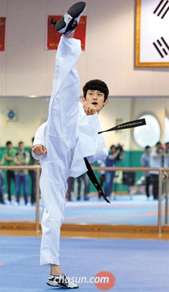 Taekwondo player Lee Dae-hoon practices at the National Training Center in Taeneung, Seoul, ahead of the London Olympic Games.