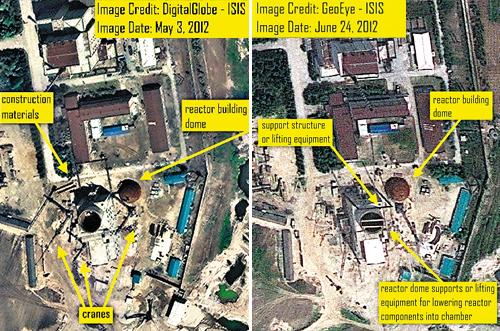 A satellite image (right) of North Koreas Yongbyon nuclear facility taken on June 24 shows new structures added to the compound, compared to a picture taken on May 3 (left). /From the website of ISIS