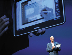 An image of Samsungs Galaxy Note tablet PC is projected on the big screen at a launch in New York on Thursday.