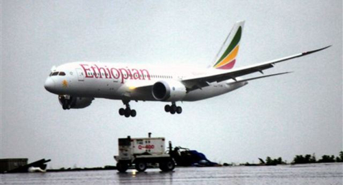 A Boeing 787 Dreamliner lands at Addis Ababa airport on Aug. 17, 2012.